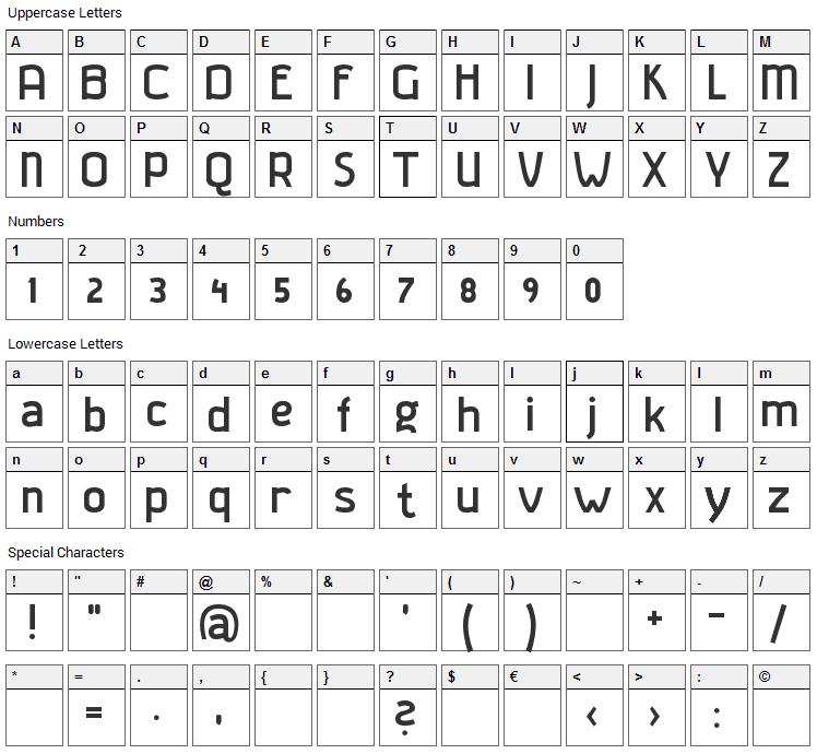 Gladatur Rum Font Character Map