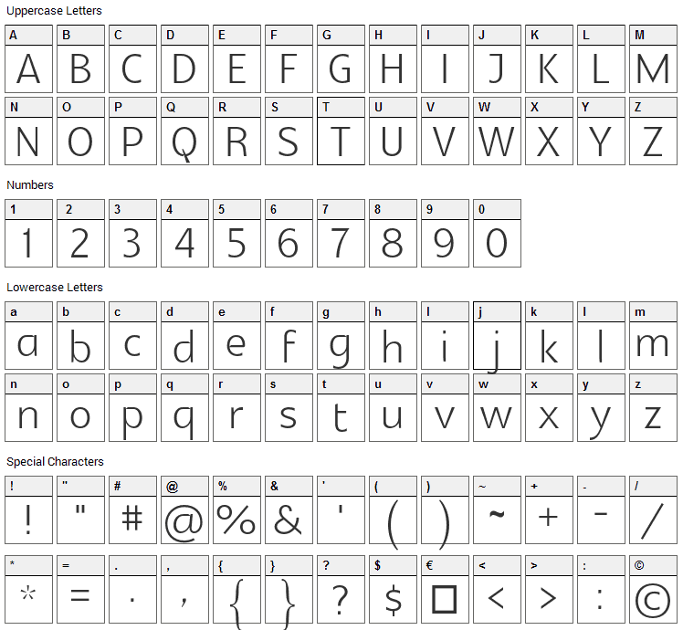 Glametrix Font Character Map