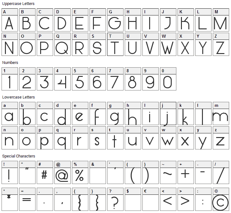 Glasket Font Character Map