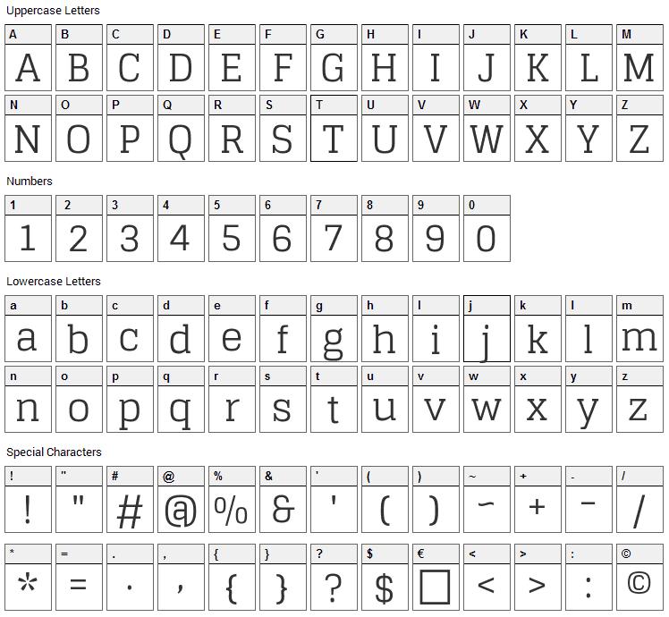 Glegoo Font Character Map
