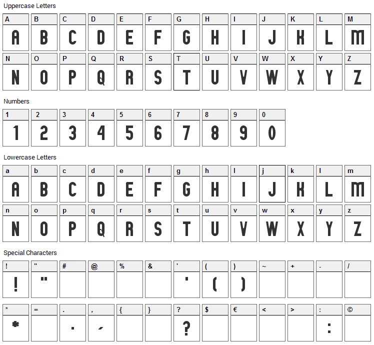 GM Exp Font Character Map