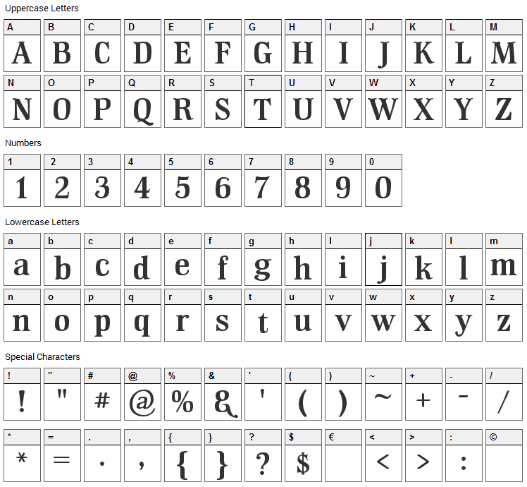 GM Hiptop Font Character Map