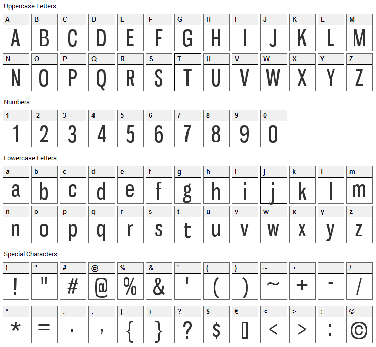 Gnuolane Font Character Map