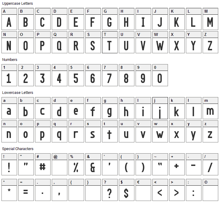Go Long Font Character Map