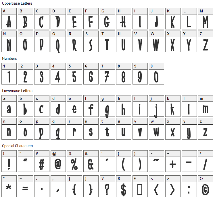 Gobbledegook Font Character Map