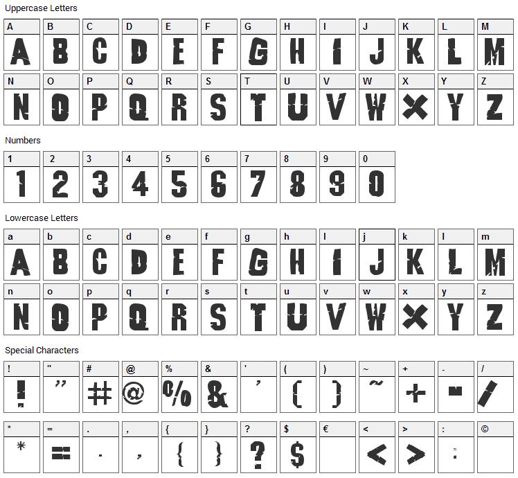 Godzilla Font Character Map
