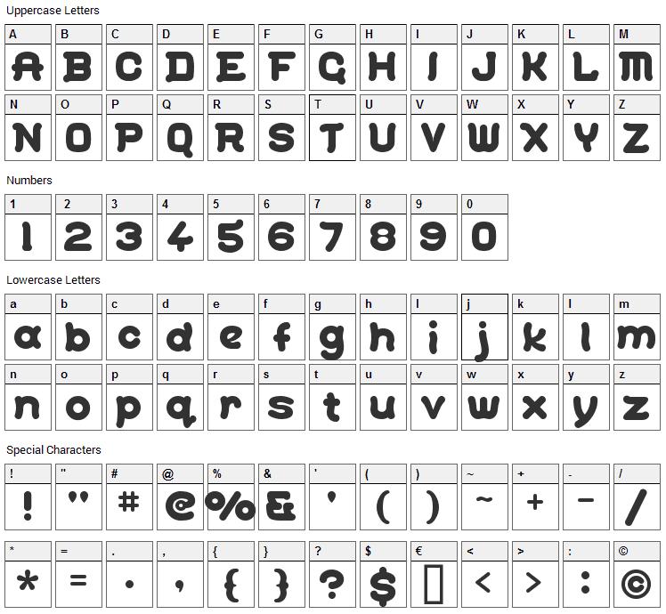Gohan Font Character Map