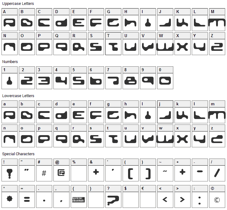 Golden Girdle Font Character Map
