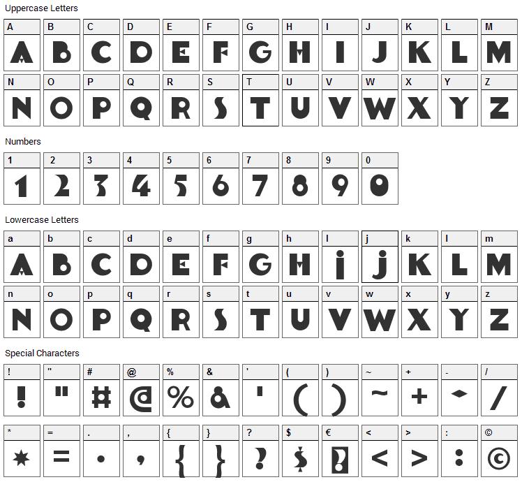 Goldsaber Font Character Map