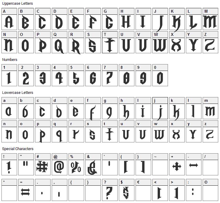 Golgotha Font Character Map