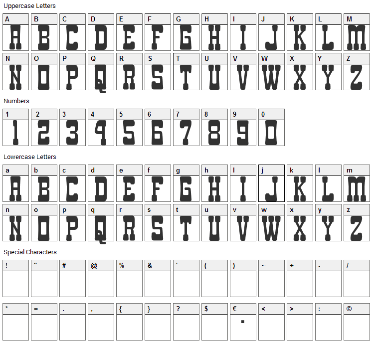 Goma Western Font Character Map