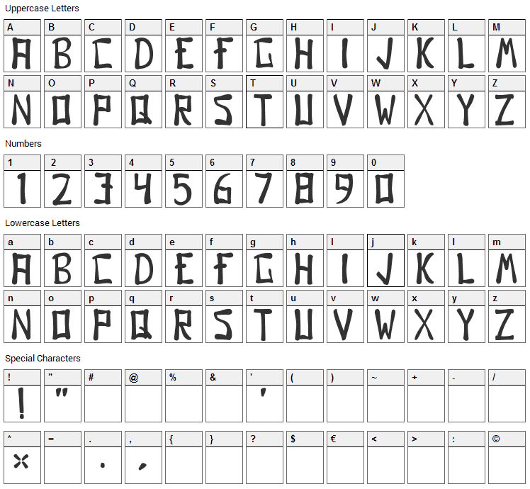 Gomo Font Character Map