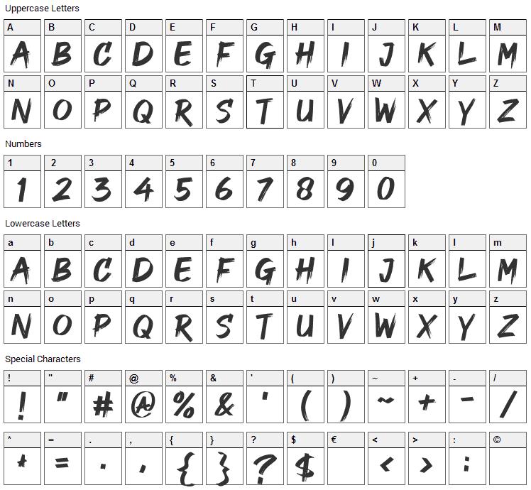Good Brush Font Character Map