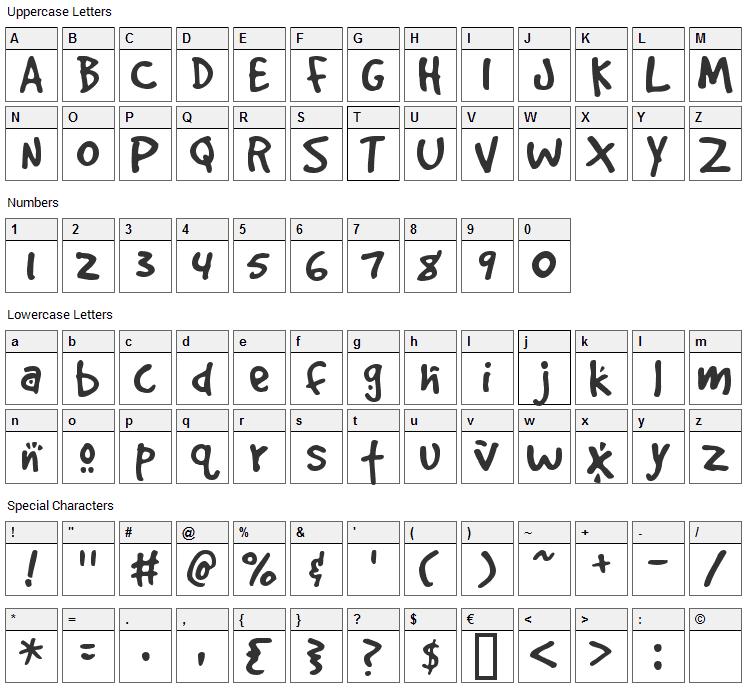 Good Dog Font Character Map