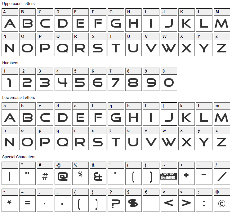 Good Times Font Character Map