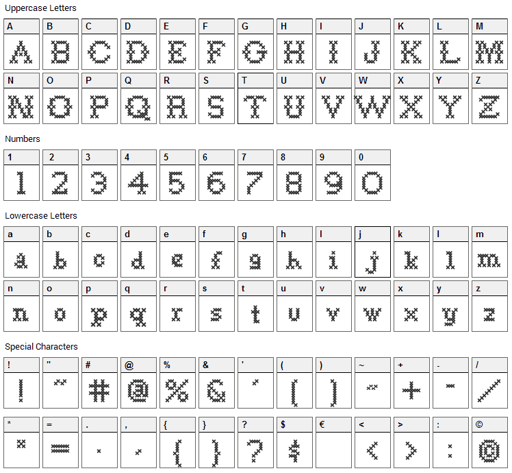 Goodbye Crewel World Font Character Map