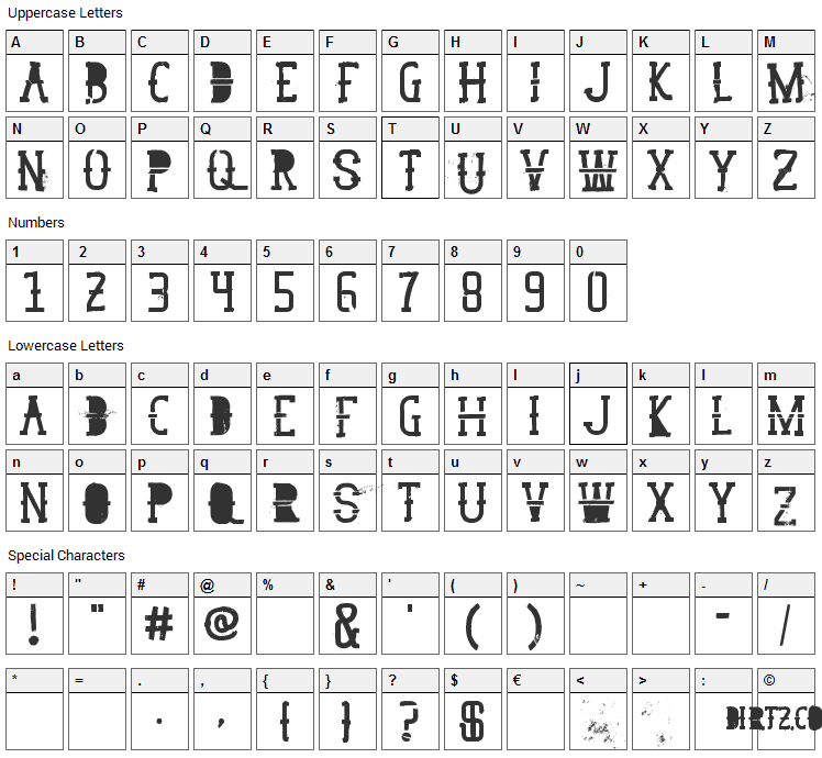 GoodPeace Font Character Map