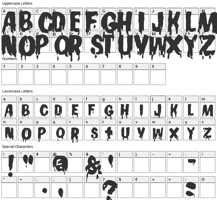 Gooey Font Character Map