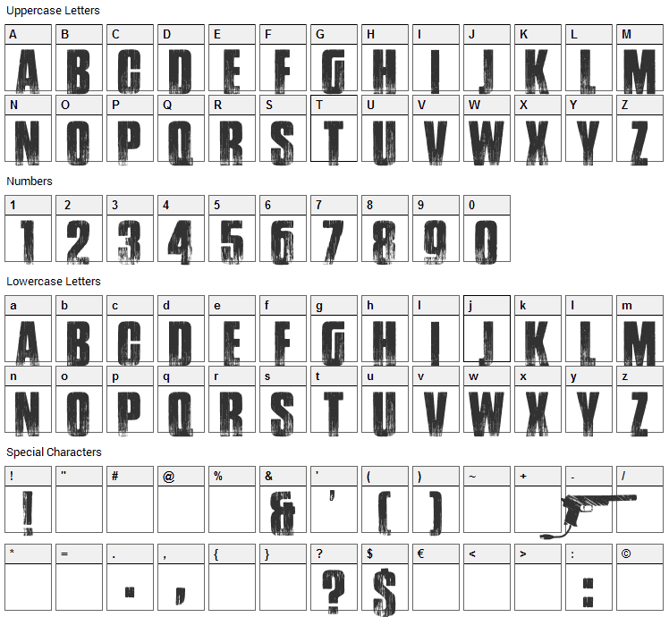 Google Spies Font Character Map