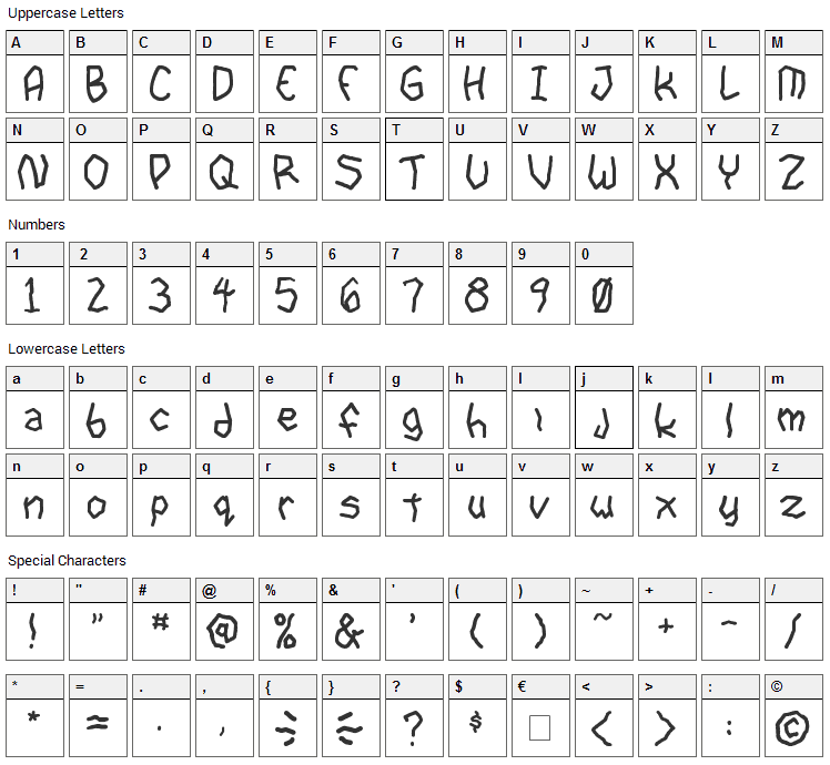 Goon Spectre TBS Font Character Map