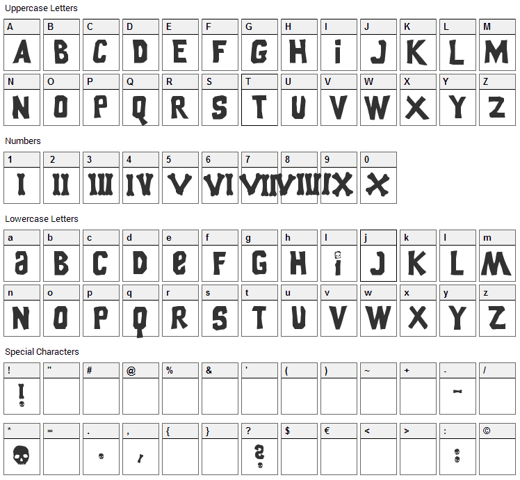 Goonies Font Character Map