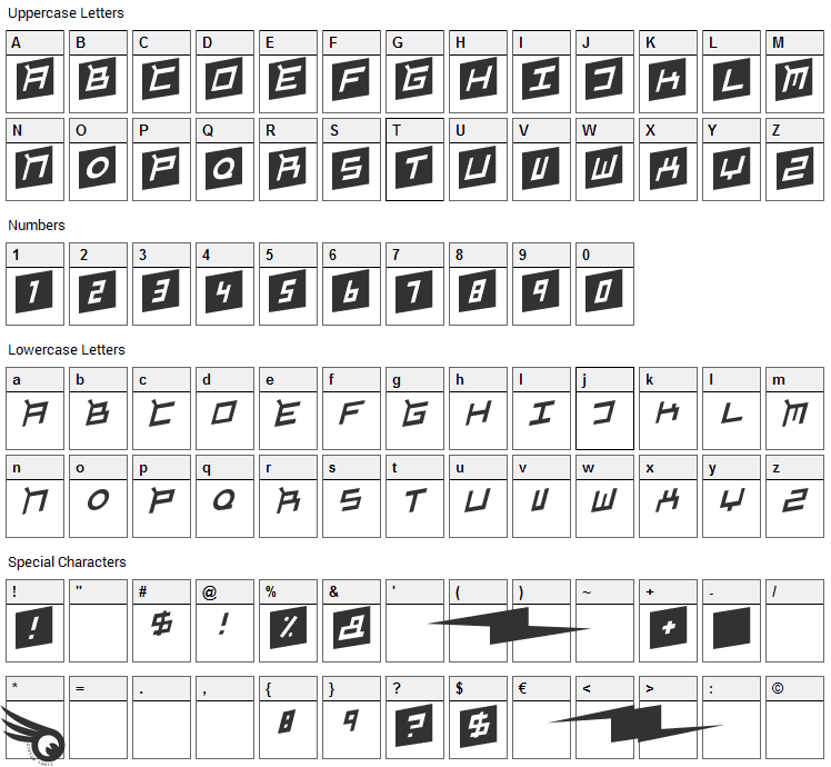 Gordon Font Character Map