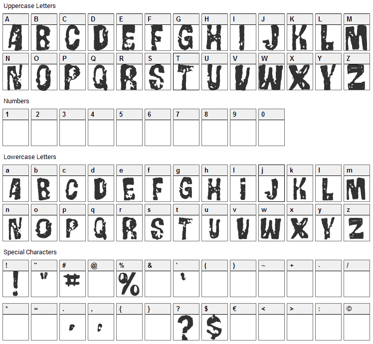 Gorgo Font Character Map