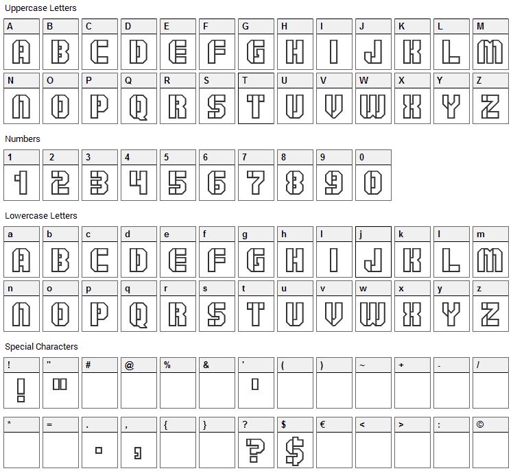 Goshawk Military Font Character Map
