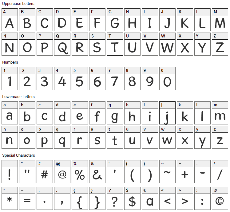 Gosmick Sans Font Character Map