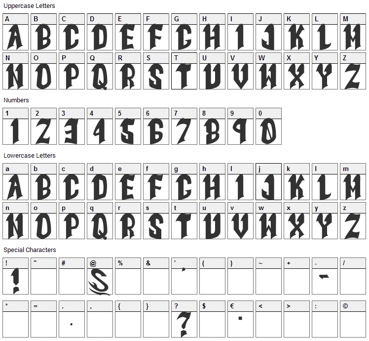 Goth Goma Font Character Map