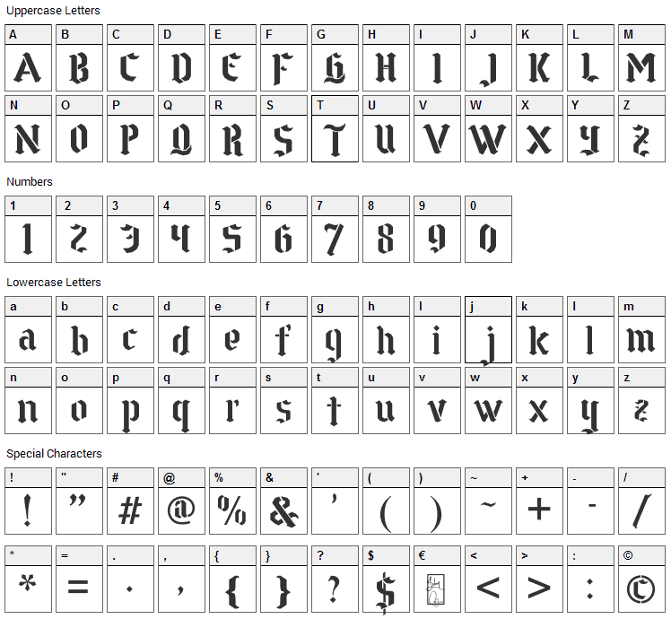 Goth Stencil Font Character Map