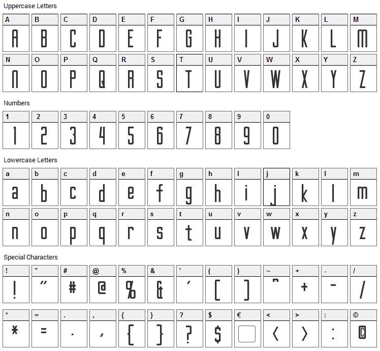 Gotham Nights Font Character Map
