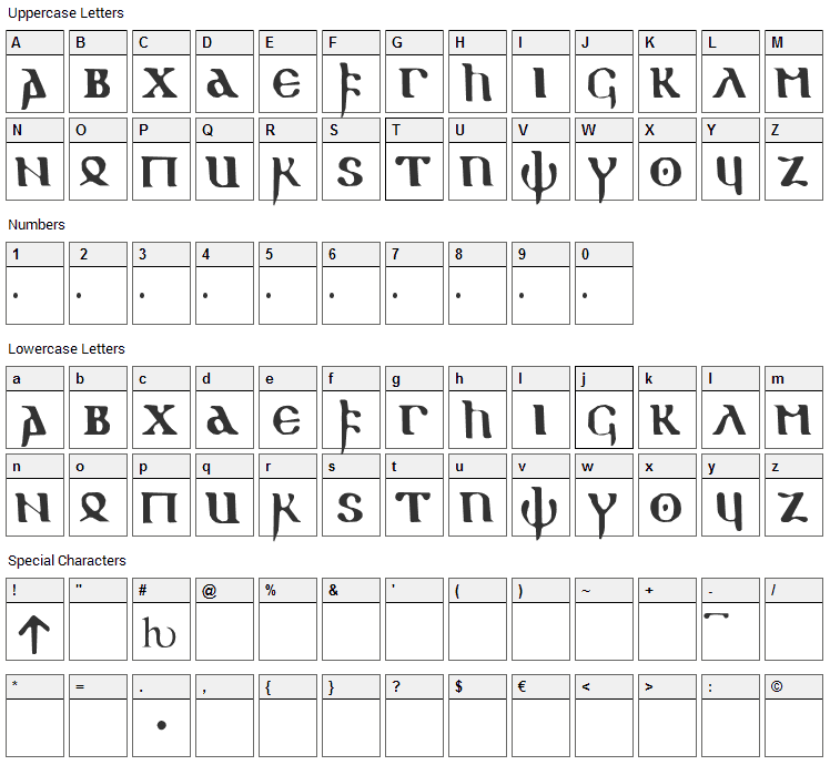 Gothic 1 Font Character Map