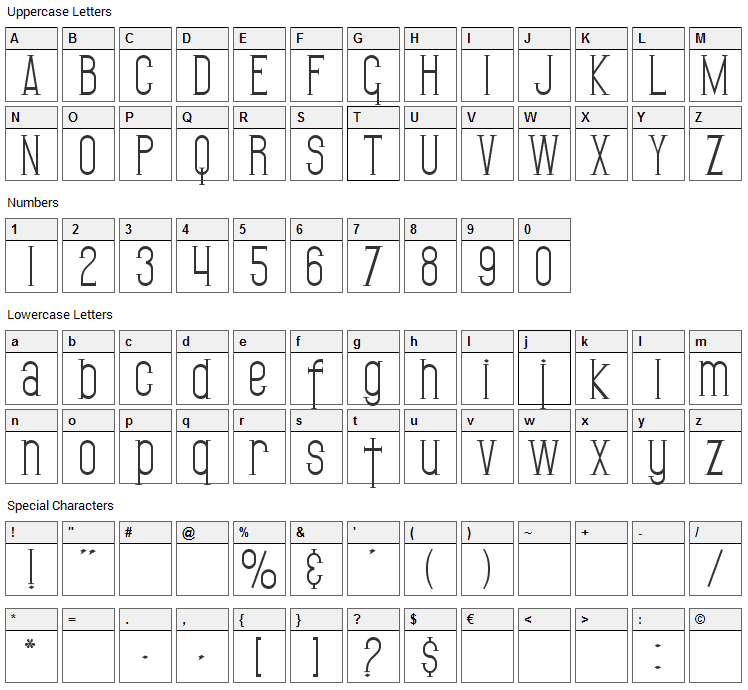 Gothican Font Character Map