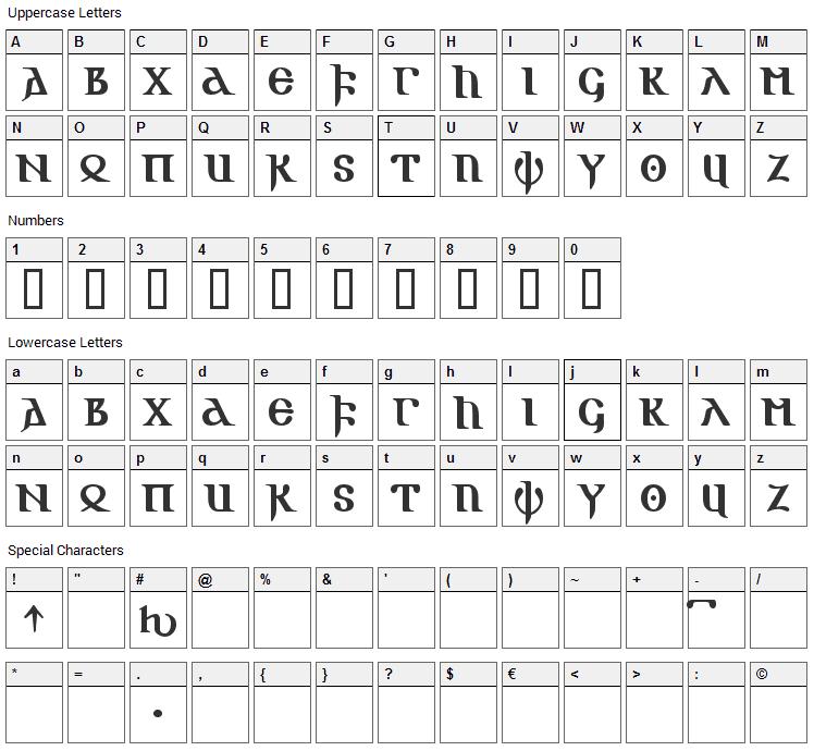 Gotic AOE Font Character Map