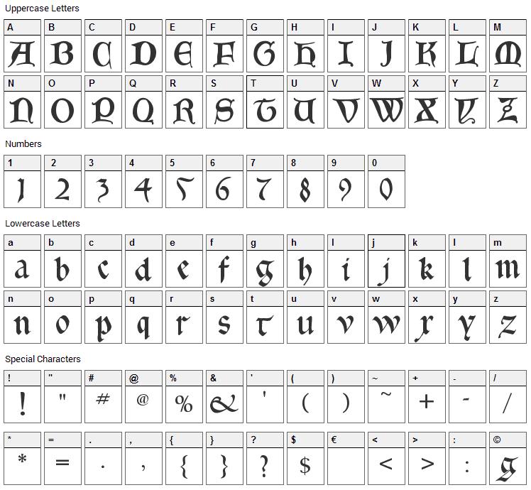 Gotica Bastard Font Character Map