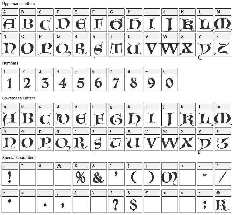 Gotische Majuskel Font Character Map