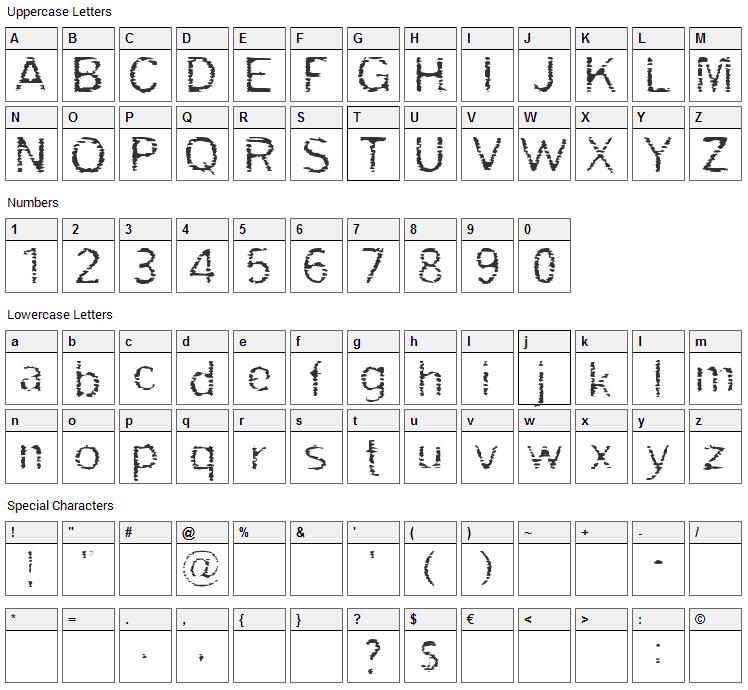 Grade Font Character Map