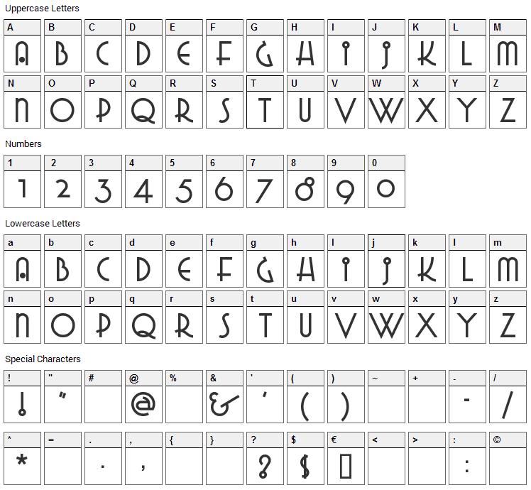 Grado Gradoo Font Character Map