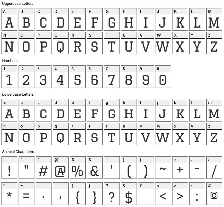 Graduate Font Character Map