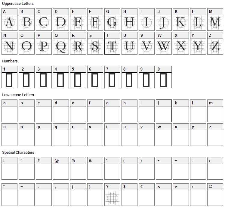 Graf Font Character Map