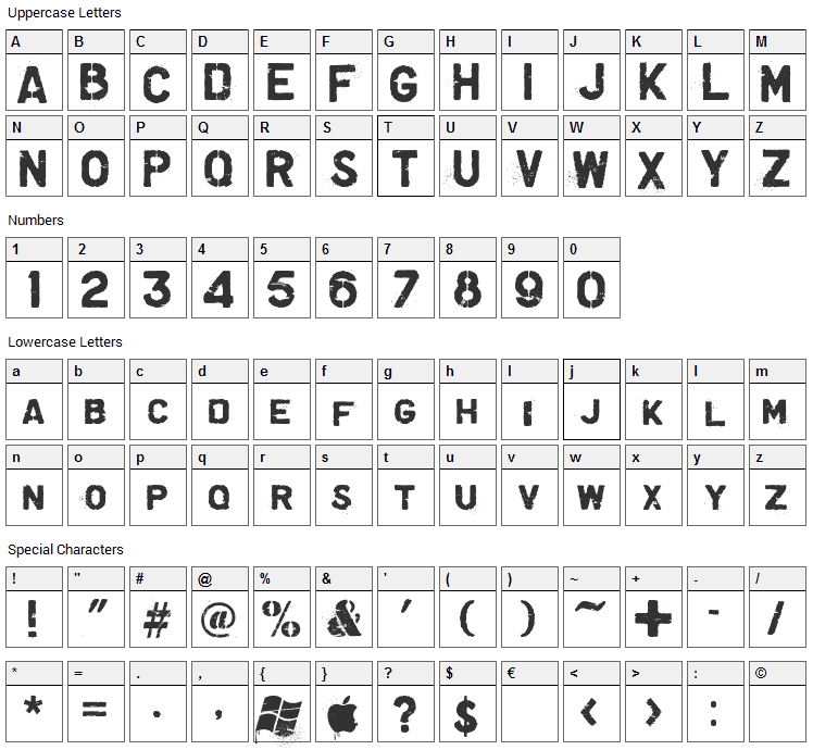 Graffiare Font Character Map