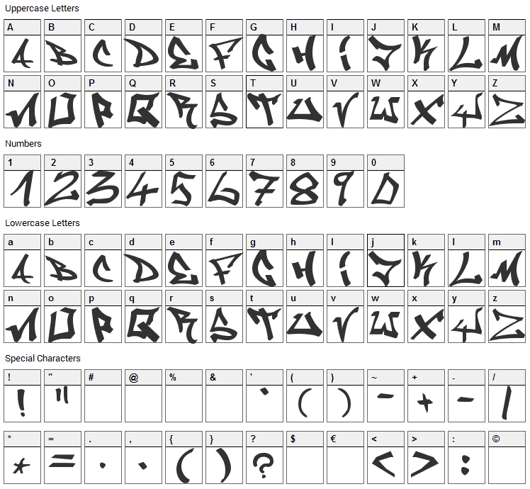 Graffiti Font Character Map