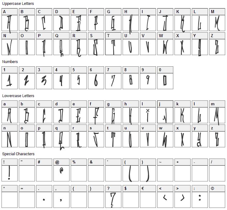 Grafitik Riot Font Character Map