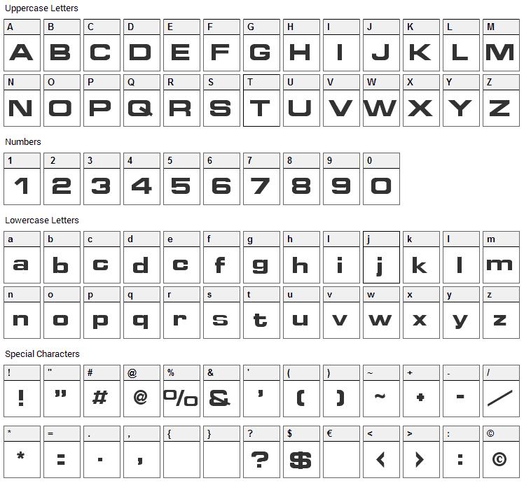 Grammara Font Character Map