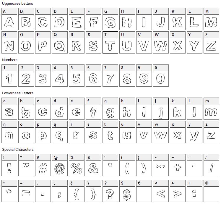 Grampslung Font Character Map