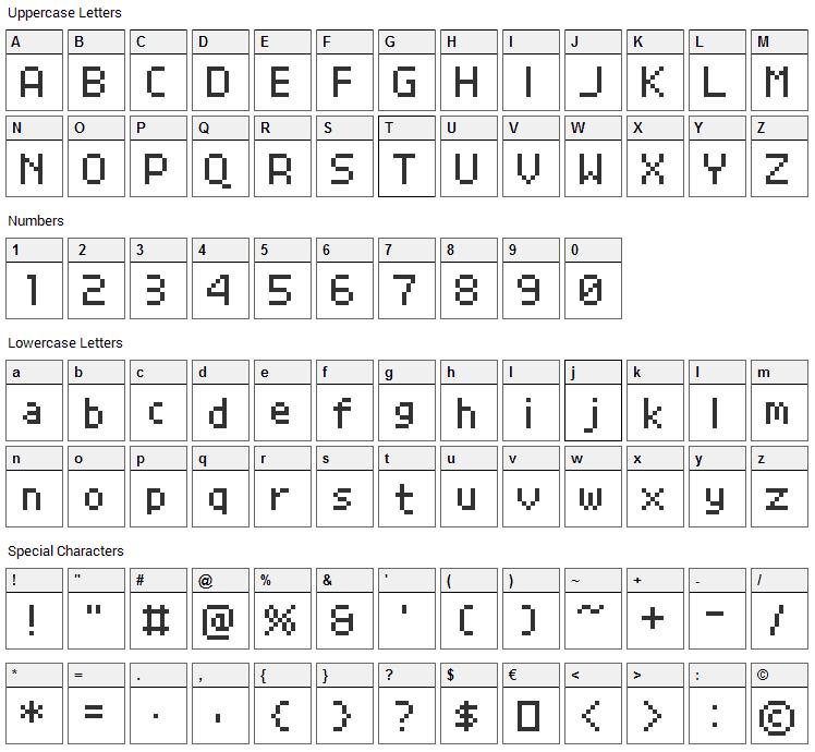 Grand9K Pixel Font Character Map