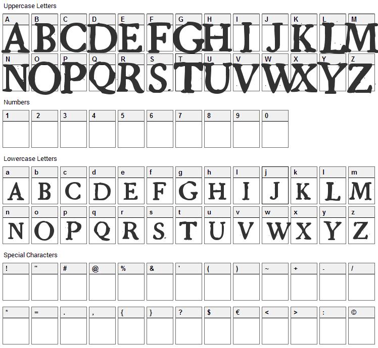Grandjean Font Character Map
