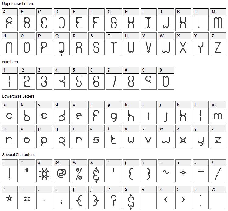 Granular Font Character Map