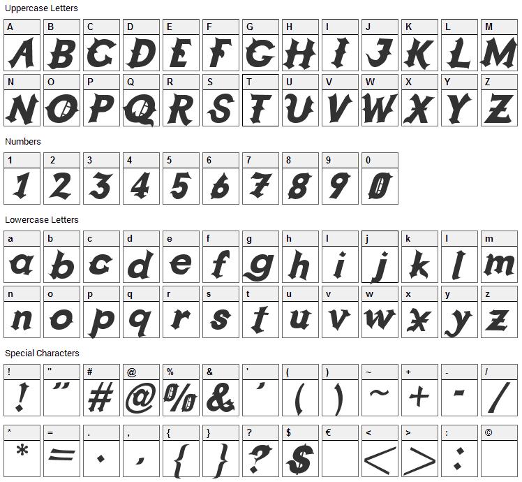 Grappa Font Character Map
